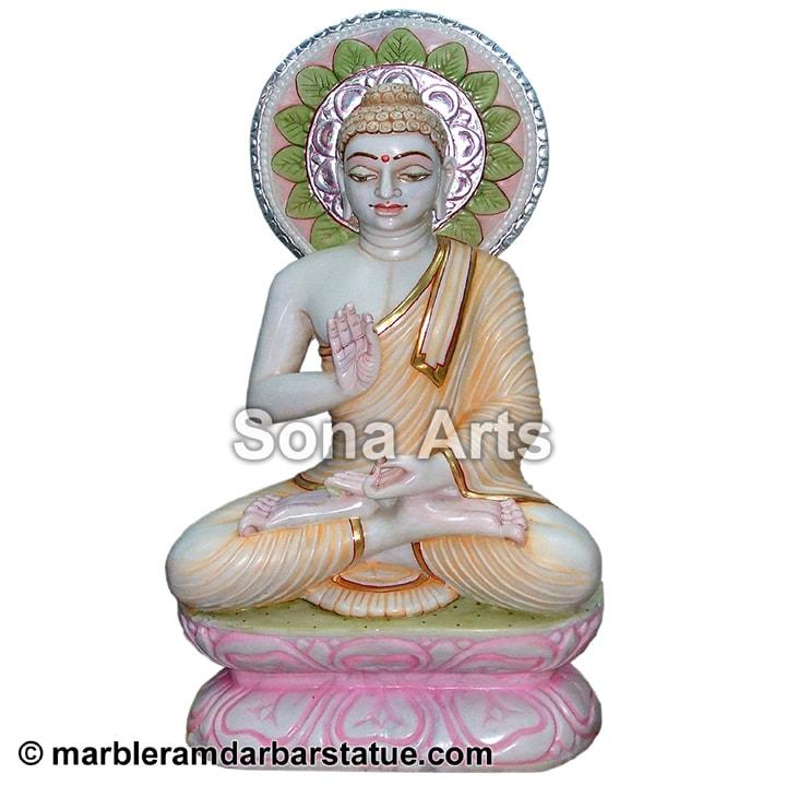 Makrana Marble Gautam Swami Jain Statue Gautam Buddha