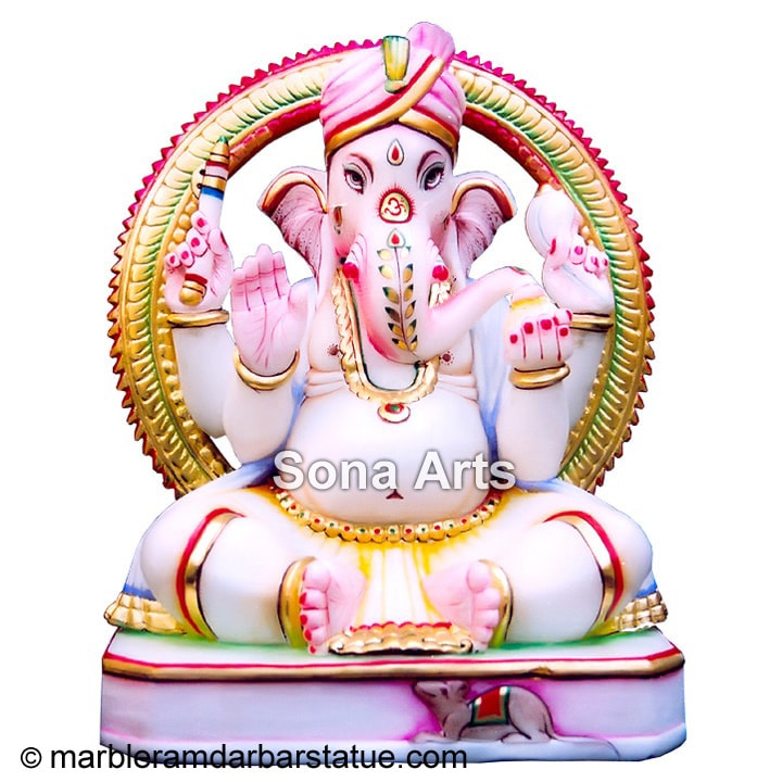 Marble Ganesh Large Seated Statue