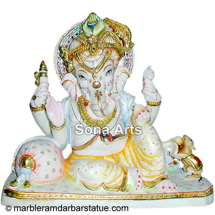 Makrana Marble Ganesh Statue with Rat