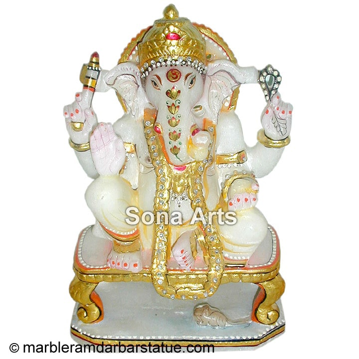 Marble Ganesha Seated On Chair