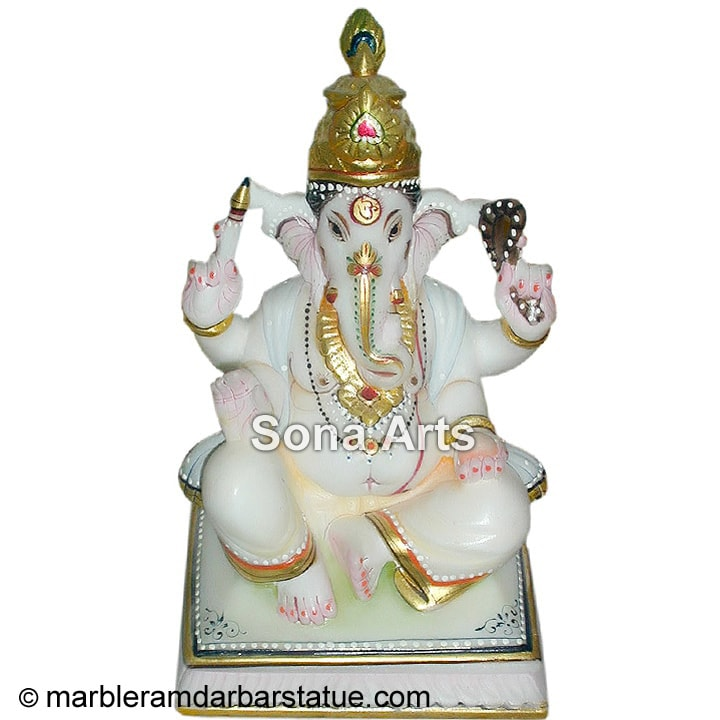 Marble Small Altar Ganesh Statue