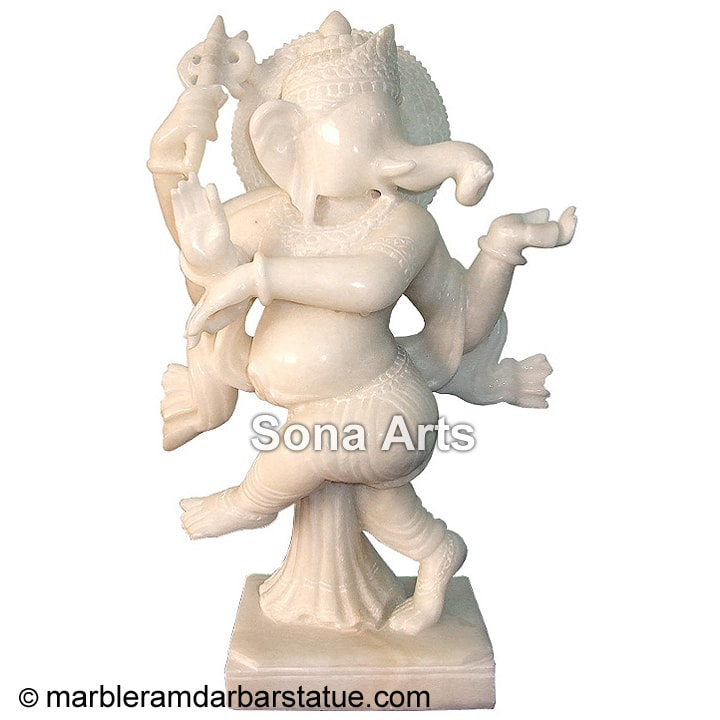 White Marble Dancing Ganesh Statue