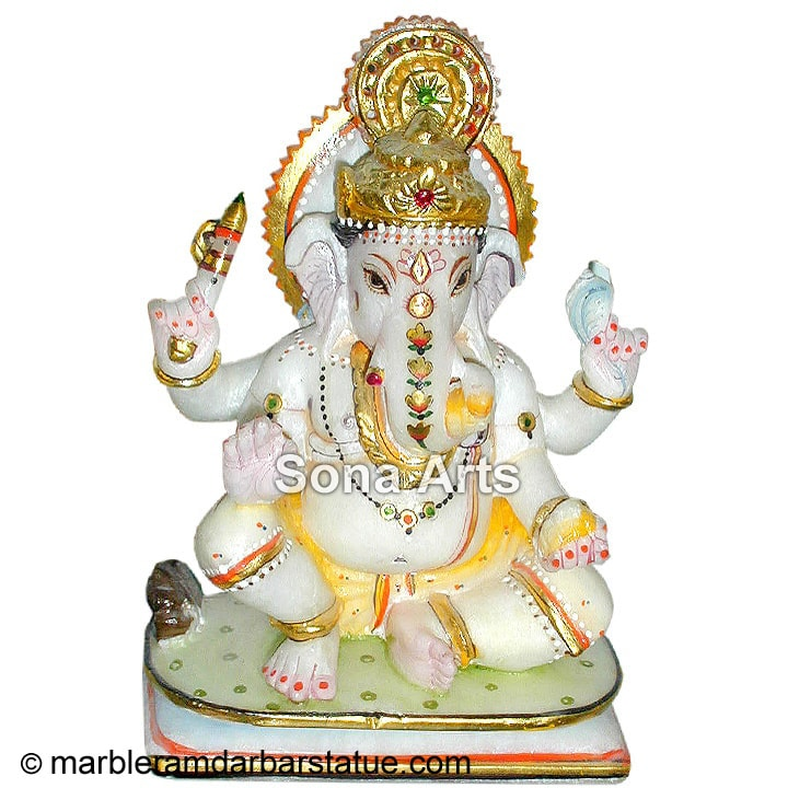 Seated Ganesh Statue With 4 Arms
