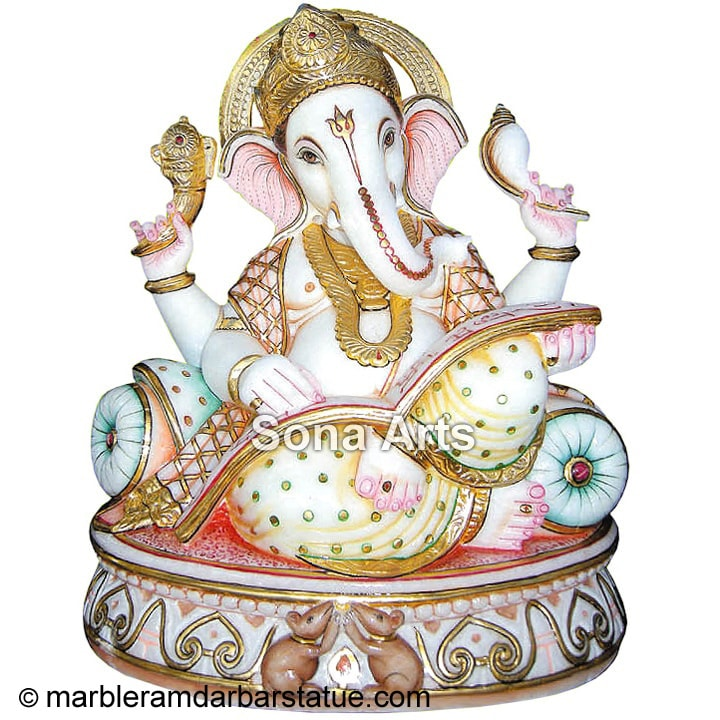 White Marble Reading book Ganesh Statue