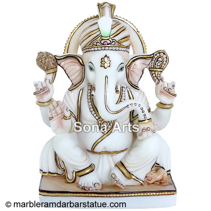 White Marble Ganesha Statue Ganesh Idol For Gift Manufacturer