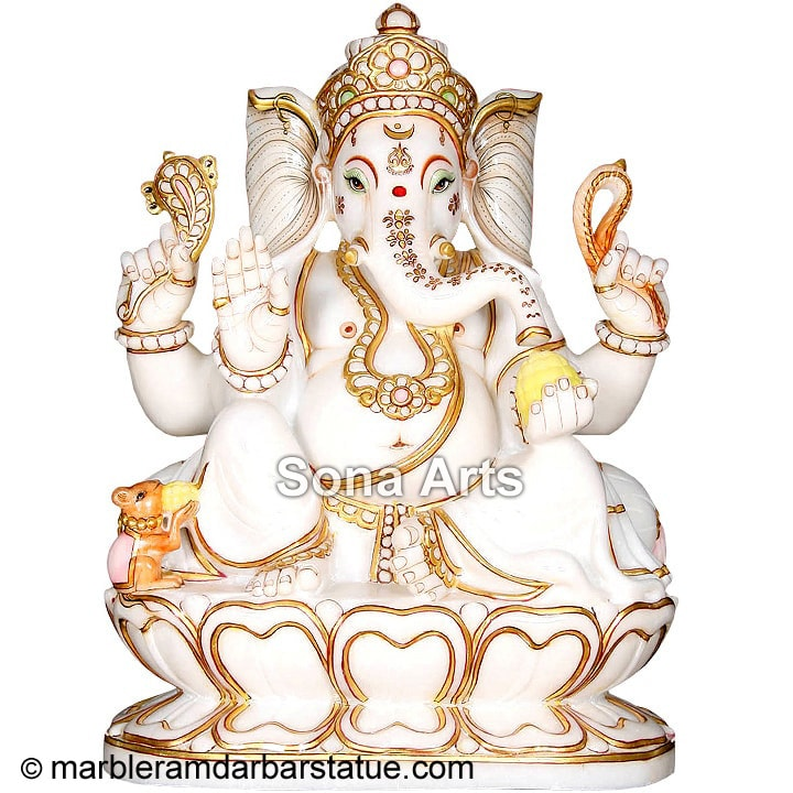 Marble Ganapathi Statue Seated on Lotus