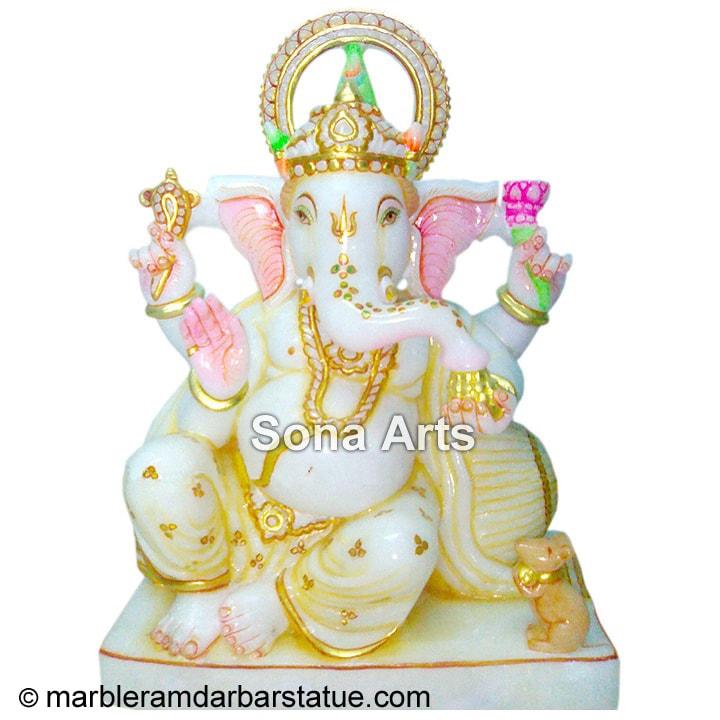 White Marble Ganesh Statue Ganesh Idol Manufacturer Exporter Jaipur