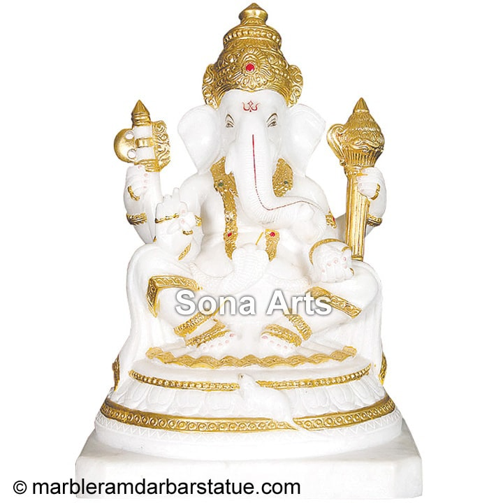 White Marble Ganapathi Statue with real gold plating