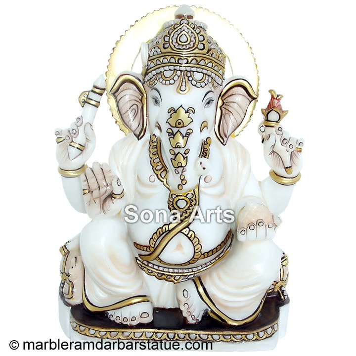Marble Ganesha Statue with Gold Painting Work