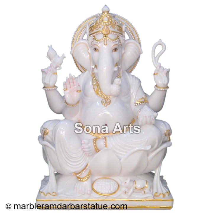 Ganesh White Marble Statues