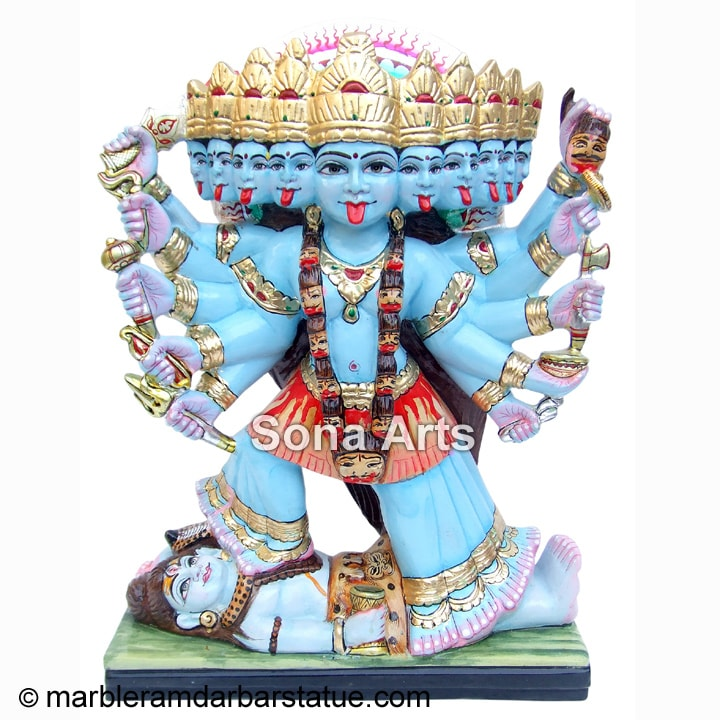Marble Maa Kali Statue with ten hands