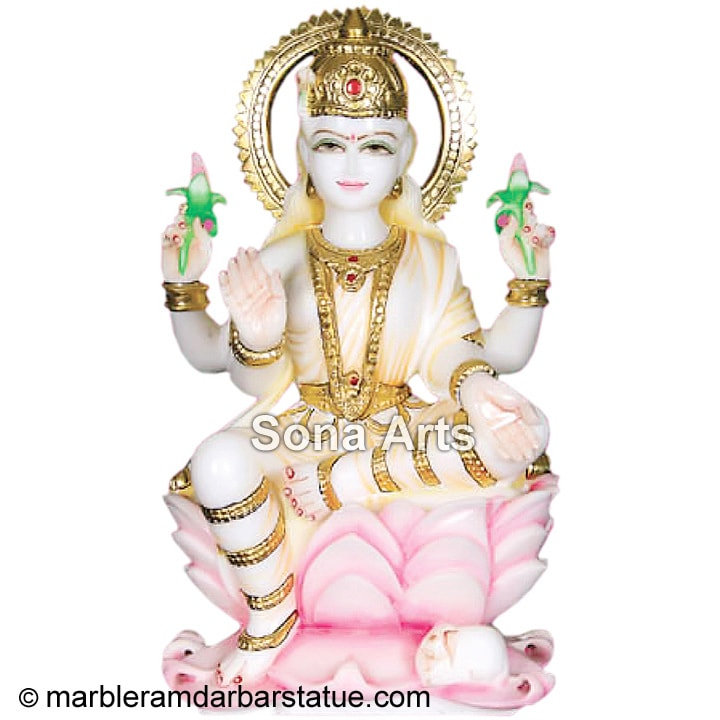 White Marble Lakshmi Sculpture