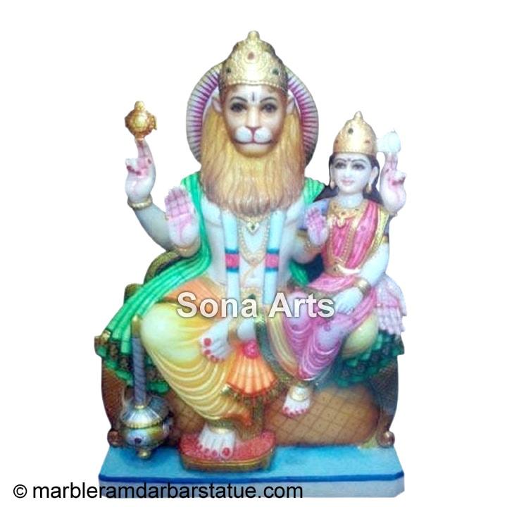 Marble Narasimha Statue With Laxmi Narasimha Moorti With