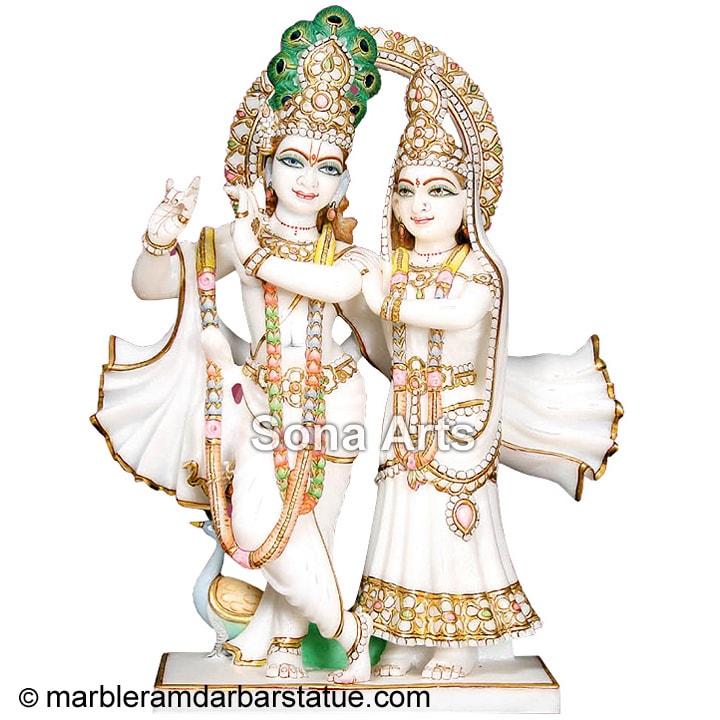 White Marble Radha Krishna Statue White Marble Stone Radha