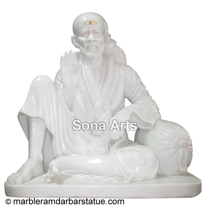 White Blessing Dwarka Mai Marble Statue