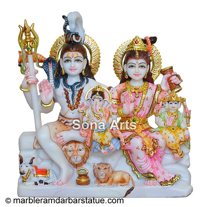 White Marble Shiva Parvati Statue Shiv Parivar Murti