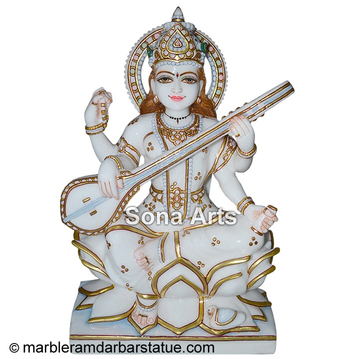 Marble Saraswati Maa Statue On Lotus