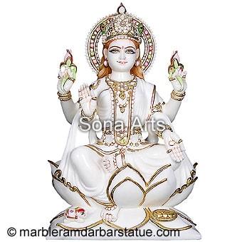 Maa Lakshmi Statue White Marble Laxmi Mata Murti